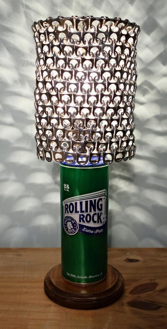 Giant Rolling Rock Beer Can Lamp With Pull Tab Lamp Shade