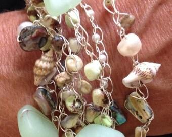 Beach glass and shell bracelet