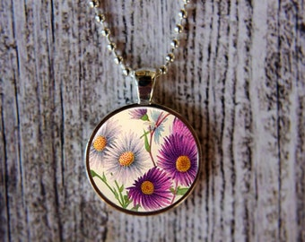 Aster Necklace, September Birth Month Necklace, Aster Jewelry, September Flower of the Month, September Birthday, Birthday Necklace