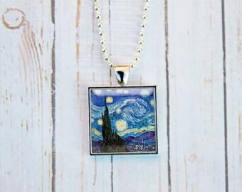 Van Gogh Starry Night Necklace, Starry Night Necklace, Starry Night Jewelry, Vincent Van Gogh, Starry Night Pendant,Starry Night Gift