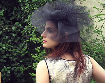 Black crinoline headpiece - Oversize fascinator for her - Races hats - Black fascinator - Crinoline fascinator