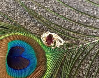 14K Gold Garnet & Diamond Ring (st - 1268)