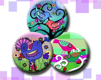 WHIMSICAL BIRDS -  Digital Collage Sheet 1 inch round images for bottle caps, pendants, round bezels, etc. Instant Download #219.
