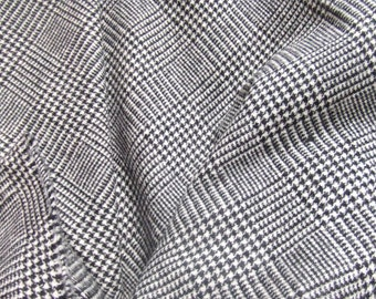 Pendleton Wool Fabric Black Houndstooth Plaid 1980s Small Holes 2 Yards
