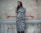 Animal Print Dress // Fake Fur // Zebra Printed Dress // Fitted Pencil Dress // Faux Fur,Black and White Zebra Dress // Made to Order