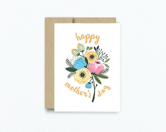 Vintage Floral Mother's Day card. Happy Mother's Day Greeting Card. Card for Mom. Floral Spring Mother's Day Blank Card Item #157