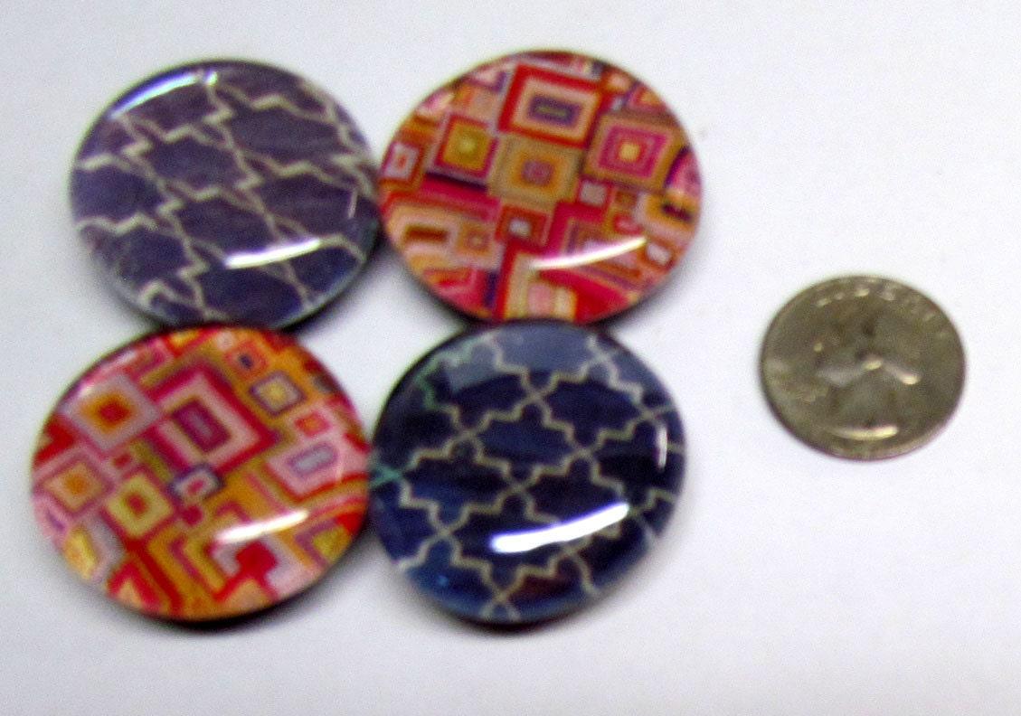 Set Of 4 Jumbo Glass Magnets Decorative Patterns Handmade