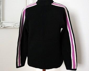 Black White and Pink Acrylic Mod Ski Sweater Men Sz M