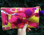 One of a kind hand embroidered pouch