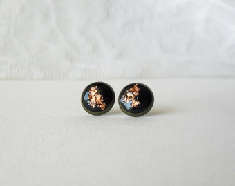 Black and Rose gold post earrings- Delicate everyday earrings- Gift idea for her- Unique stud earrings