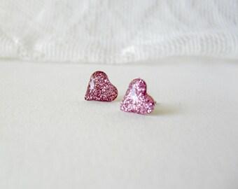 Pink glitter heart post earrings- Sparkling heart studs- Spring Summer jewelry- Girly earrings
