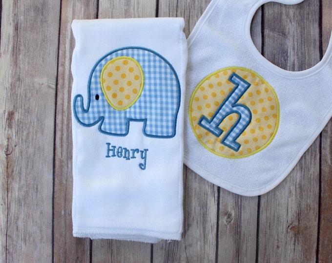 Monogrammed Baby Boy Elephant Burp Cloth Bib Set, Personalized Elephant Gift Set, Elephant Boy Gift, Boy Elephant Burp, Elephant Burp