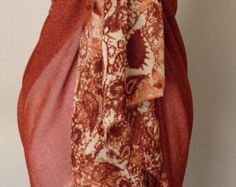 Burnt Orange Bathing Suit Wrap/Skirt