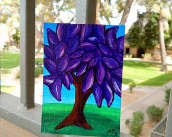 ACEO - Purple Tree Painting