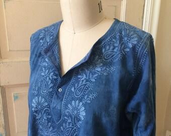 Indigo Cotton Tunic, Indigo Dyed Embroidered Cotton Tunic, Indigo Ethnic Tunic