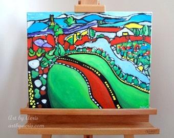 Vineyard Landscape Painting, Original  Modern Acrylic Fine Art by Aeris Osborne,16x20 Stretched Canvas