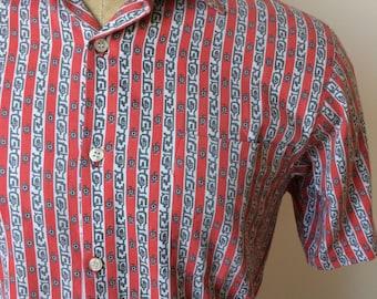 Vintage MENS 1980s Sahara red, white & grey striped short sleeve shirt, size M