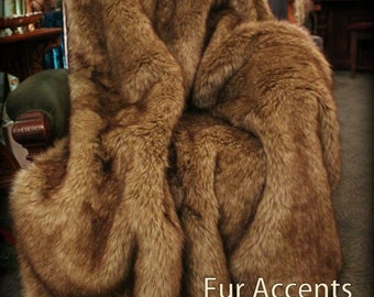 FUR ACCENTS Exotic Faux Fur Throw Blanket  / Bedspread / Timber Wolf Throw Blanket / Coyote / Bear Skin