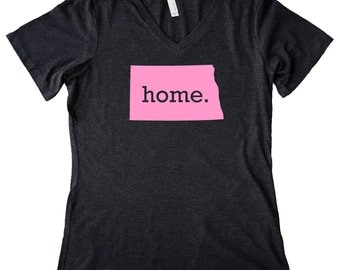V Neck North Dakota Home State T-Shirt Women's PINK EDITION Triblend Tee - Sizes S-XXL