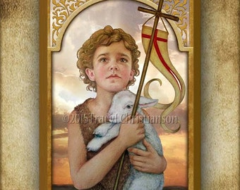 St. John the Baptist (child) Wood Plaque and Holy Card GIFT SET #3112