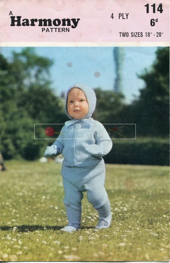 Baby Pram Set 4-ply 18-20ins Harmony 114 Vintage Knitting Pattern PDF instant download
