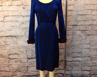Vintage BLUE LUREX 1950's 50s  Wiggle Bombshell Dress with Genuine Fur Trim Size M/L Vlv, Holiday Mad Men Office Party Perfect!