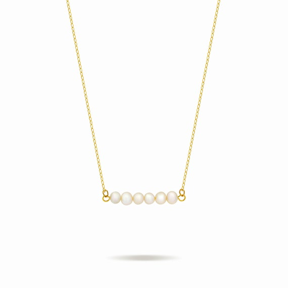 horizontal bar necklace 14k gold fill pearl bar necklace