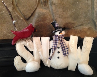 "Primitive Snowman ""SNOW"" Word with Cardinal and Snowballs"
