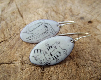 Elephant and Tiger illustrated enamel copper and silver handmade earrings - Nights at the Circus
