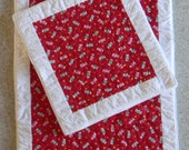 Quilted Table Runner & Place mat Set, Peppermint Candy