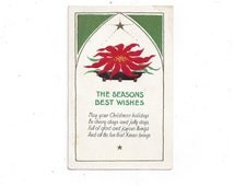 1950s Embossed Christmas Postcard featuring Poinsettia and Gold Star and Trim - Unsent, ~~by Victorian Wardrobe