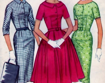 Misses' and Junior Dress with Slim or Full Skirt - Size 18  B38 - CUT McCalls 5597