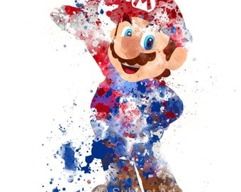 Super Mario, Mario ART PRINT illustration, Video Game, Nintendo, Playstation, Xbox, Gaming, Home Decor, Wall Art, Gift