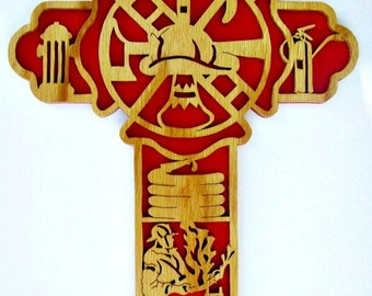 Handcrafted Scrolled Firefighter Cross