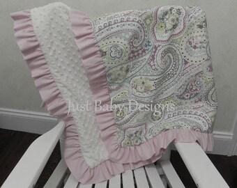Custom Baby Blanket with Ruffle - Choose Your Fabrics