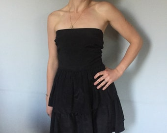 Black 80s Peplum Dress
