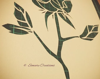 COMMERCIAL LICENCE - Cut it yourself papercut template 'Valentine Rose, Three Leaves'