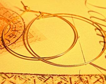Gold Filled hammered Hoop Earrings, Handmade Minimalist Everyday Earrings by RaadheHandmadeJewelry