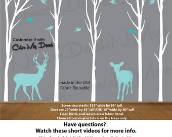 Deer in Forest Nursery Decal, Dead Tree Decal, Dead Forest Wall Stickers (White Teal T80_D24_B23_B24) Dead_Nature_Tree Deer NTD