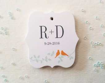 Custom Initials Wedding Tags, Bride Groom Initials Favor Tags, Wedding gift tags, Garden theme wedding tags, Set of 25 (TW12)
