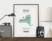 Zombie Safe Zone Buffalo Map Poster - Buffalo New York Map