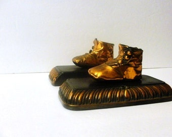 Antique Small Bronzed Antique Baby Shoes, Bookends