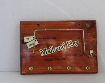 "Vintage 50's Cedar Wood Mail/Letter/Magazine/Key Holder "" Mail and Key"" Wall Hanging Holder"