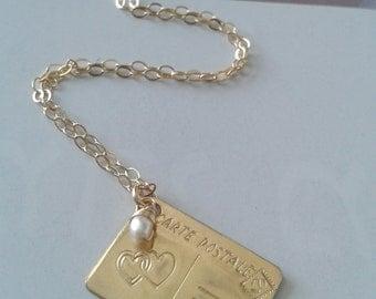 Postcard necklace, Gold postcard necklace, Postcard pendant necklace, Dainty gold filled necklace, Hearts pendant necklece Valentine's day