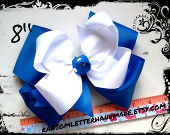 """Jumbo 8"""" Two Color Hair Bow Royal & White Extra Large Hair Bows Handmade Huge Big Bows 2 Color HairBows King Size Hair Bow"""
