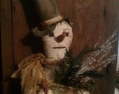 Antiqued Snowman,TAKE 5.00 OFF, Upcycled Quilt Door Greeter,  Primitive Winter Arrangement, Let it Snow Tag