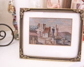 Vintage 1940s Petit Point Picture WIth History, 1948 Brussels Embroidery with a Note, Seascape Landscape Artwork