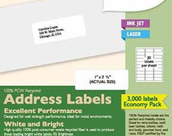 3,000 Address Labels: Recycled 100% PCW (100 Sheets) Best Value!