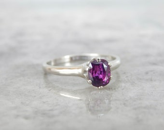 Simple Vintage White Gold Victorian Style Plum Sapphire Engagement Ring - EV5H6W-D
