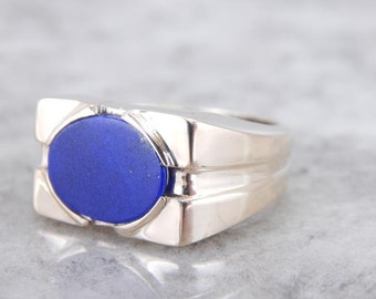 Mid Century Modern Lapis Ring For Gentleman Or Lady Q0D08H-P